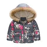 Kinder Mädchen Sunnydrain Kinderjacken Hoodie Floral Reißverschluss Lose Winter Warm Herbst Kapuzen Outerwear Baumwolle Ärmellose
