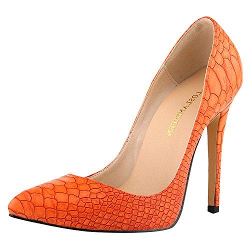 Oasap Damen Stilvolle Schlange Design Cusp Stiletto Orange
