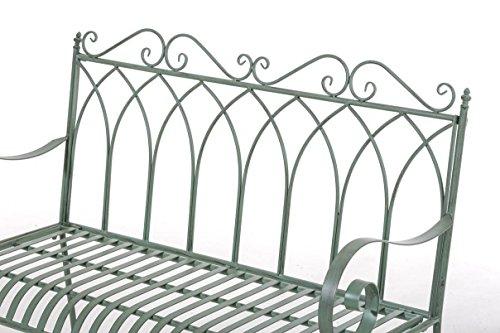 CLP Gartenbank DIVAN im Landhausstil, aus lackiertem Eisen, 106 x 51 cm – aus bis zu 6 Farben wählen Antik Grün - 4