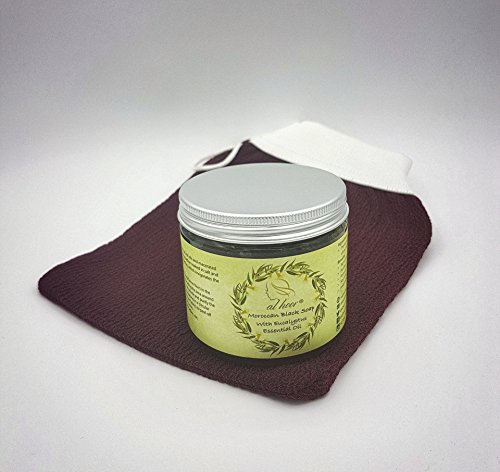 New Natural Moroccan Black Soap (Beldi) With Eucalyptus Essential Oil Plus Free Premium Kessa Exfoliation Glove - Best Natural Exfoliant Formulated By Skin Experts - Removes Dead Skin Cells - Cleanses Skin Impurities - Regulates Excessive Oily Skin - Unbl