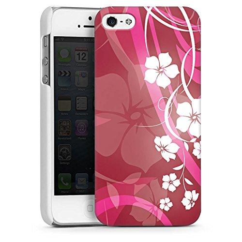 Apple iPhone 5 Housse Étui Silicone Coque Protection Fleurs Fleurs Vrilles CasDur blanc