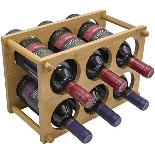 Sorbus® Weinregal, 2-stöckig, Bambus, klassisch, für Flaschen, ideal für Bar, Weinkeller, Keller, Schrank, Speisekammer, etc. - für 6 Flaschen -