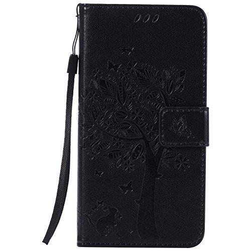 Cozy Hut Sony Xperia M5 Schwarz Hülle, Premium Leder Flip Case im Bookstyle Folio Cover Kartenfächer Magnetverschluss und Standfunktion Schale Etui für Sony Xperia M5 - schwarz
