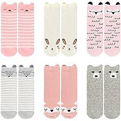 Ateid Pack de 6 Pares de Calcetines Largos Antideslizante para Bebé Niñas, 0-2 años