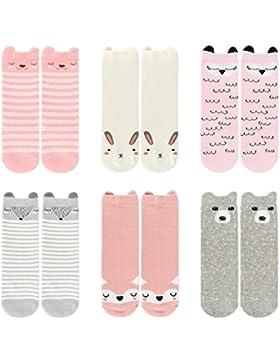 Ateid 6 Paar Baby Kniestrümpfe Socken Knielang Antirutsch-Socken mit Gummi-Noppen aus Baumwolle