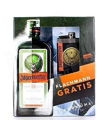 Jägermeister Geschenkpaket mit Flachmann - Schnaps Flacon - Schnapsflasche 0,7l 35% vol.