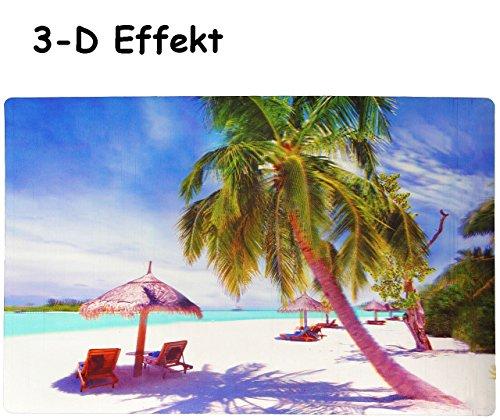 """Preisvergleich Produktbild 3-D Effekt __ Unterlage - """" Karibik Strand """" - 42 cm * 28 cm - Tischunterlage / Platzdeckchen / Malunterlage / Knetunterlage / Eßunterlage / Platzmatte - für Kinder & Erwachsene / kleine Schreibunterlage - Südsee - Palmen Urlaub in der Karibik - rutschhemmend"""