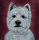 """West Highland Terrier, by Christine Varley. Decorative Ceramic Picture Tile. 8"""" x 8"""""""