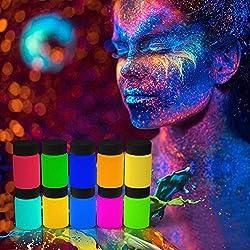 UV Bodypaint Farbe Schwarzlicht Schminke Selbstleuchtend Fluoreszierende Farbe UV-Licht Körperfarbe Set Glow in the dark für Body und Facepainting-10x20g Neon Leuchtfarbe,3 Pinsel,1 Palette MEHRWEG