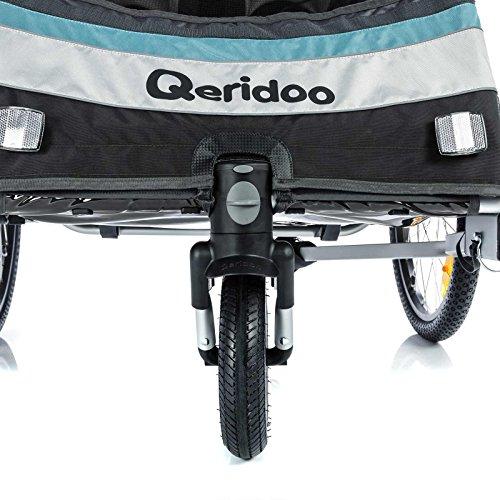 Qeridoo Sportrex 2 Deluxe (inkl. Sitzpolster) Kinder-Fahrradanhänger für 2 Kinder (mit einstellbarer Federung) – grün - 6
