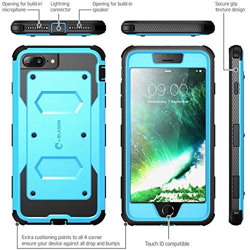 iPhone 7 Plus Hülle, iPhone 8 Plus Hülle, i-Blason Armorbox Schutzhülle Cover Full Body Case Schale mit eingebautem Displayschutzfolie und Gürtelclip für Apple iPhone 7 Plus / iPhone 8 Plus,Schwarz blau