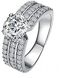 Yiwu Crystal WHITE 18K PLATINUM PLATED METAL RING Fashion Jewellery For WOMEN