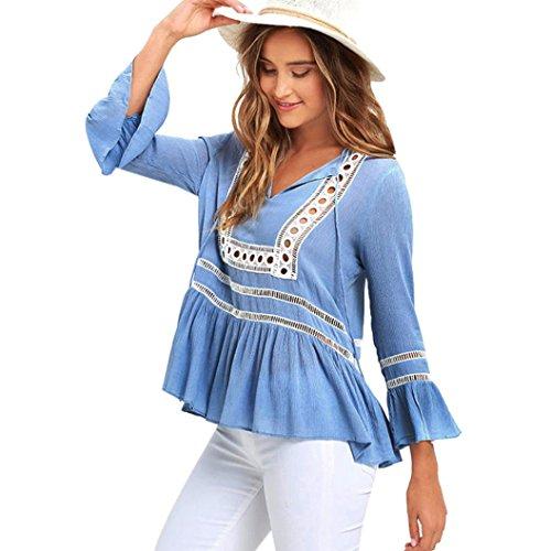 zahuihuiM Mme chemise dentelle coton chemise décontractée chemise à manches longues T-shirt Bleu