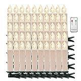Weihnachtskerzen Kerzenlichter Weinachten LED Kerzen Fernbedienung Kabellos für Weihnachtsbaum Weihnachtsdeko Hochzeit Geburtstags Party (White, Warmweiß-50er)
