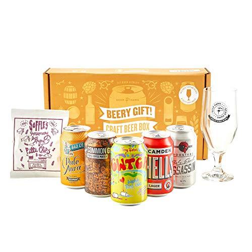 Beer Hawk Beery Gift Hamper Selection Box - Craft Beer Gift Set with Glass & Snacks
