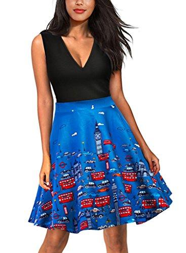 Eudolah Damen Kleid Sommerrocke mit T-Shirt Faltenrock Vintage Cartoon Knielang Blau Auto