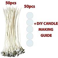CozYours STOPPINI PER CANDELE DA 200 mm CON ADESIVI PER STOPPINI, 50 PZ, FUMO RIDOTTO E NATURALE, Stoppini per realizzare candele.