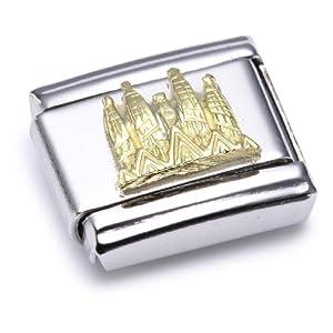 Nomination Composable Classic RELIEF MONUMENT Edelstahl und 18K-Gold (Sagrada Familia) 030123