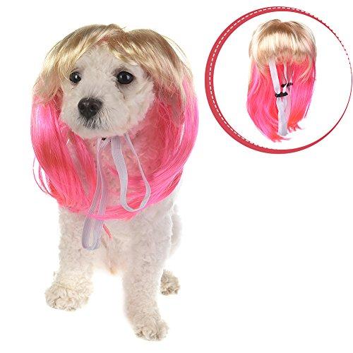 Yunt Hundekostüm Pink & Gelb Perücke Haare für Kleine Mittlere und Große Hunde Katze Halloween Fest Cosplay (Ideen Für Kostüm Interessante Halloween)