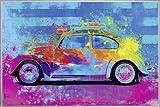 Close Up Splash Buggy Beetle Poster Parker Greenfield (62x93 cm) gerahmt in: Rahmen Silber Matt