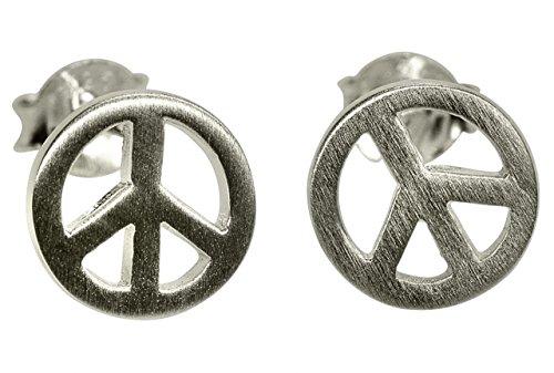 (SILBERMOOS Damen Ohrstecker Peace Frieden Zeichen matt Sterling Silber 925 Ohrringe)