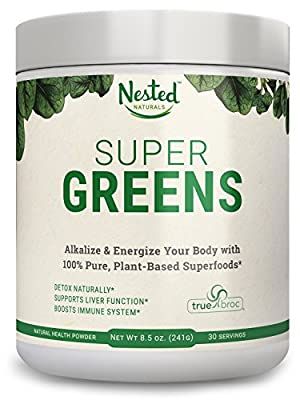 Super Greens   Veggie Greens Superfood Powder - 20 Organic Ingredients: Spirulina, Chlorella, Spinach, Broccoli and More - Plus Organic Fruits and Vegetables, Probiotics, and Enzymes   Non-GMO, No Soy