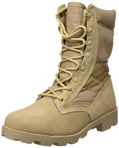 US Army Desert Combat Jungle Patrol Mens Boots Tan Suede Leather Khaki (Khaki Up Lace Beige)