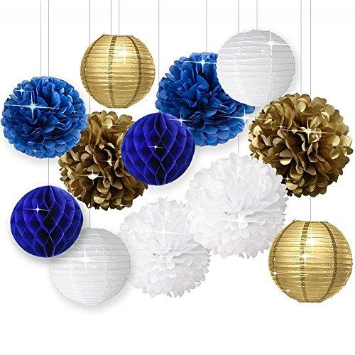 Weiß Navy Blau Gold Seidenpapier Pom Pom Papier Blumen Papier Honeycomb Papier Laternen für Marineblau Mottoparty Party Bridal Dusche Baby Dusche Party Dekoration