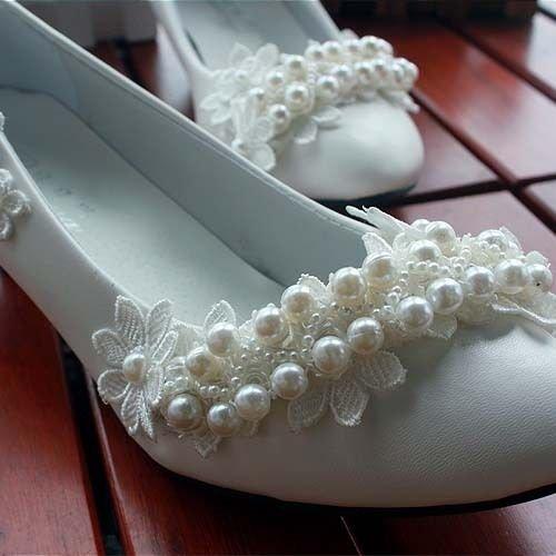 JINGXINSTORE Bianco perla Ladies Nuziale matrimonio scarpe Tacchi Alti Maria Festa Serale sexy in pizzo 5CM