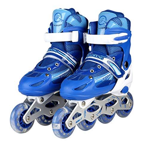 RENYAFEI Verstellbar Inline Skates Rollschuhe Kinder Quad Skate Jugend Rollschuhe 3 Farben Können Wählen 3 Größen Für Alles Kinder,Blue,L(38~41EU)