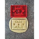 Emporte-pièce personnalisé en forme de petit beurre - 2 prénoms et coeurs - Conçu et fabriqué en France