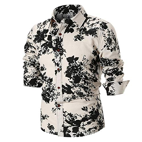 MRULIC Herren Shirt Kentkragen Langarm Shirts Businesshemd Freizeithemd Oktoberfest Karnevals kostüm(C-Weiß,EU-52/CN-3XL) (Yeezy Kostüm)