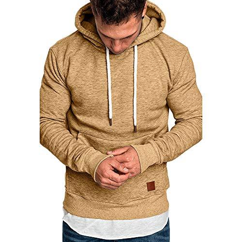 Hmeng Herren Ultimate Baumwolle Schwergewicht Pullover Hoodie Sweatshirt (Khaki, XL)