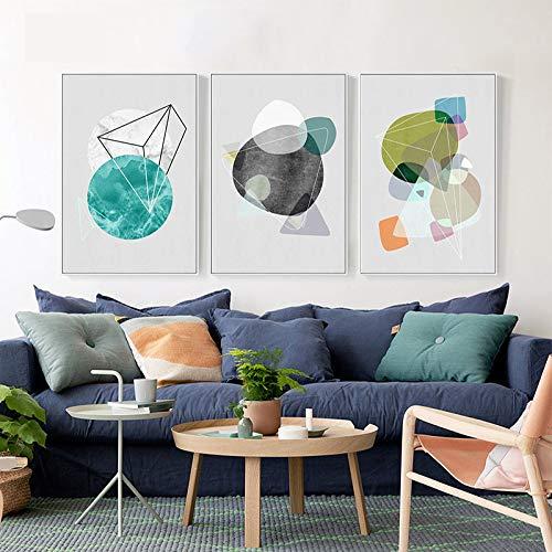 zxddzl Nordic modernen minimalistischen abstrakten geometrischen Farbblock Polygon Wohnzimmer Studie dekorative Malerei Kern 18 60x80cm