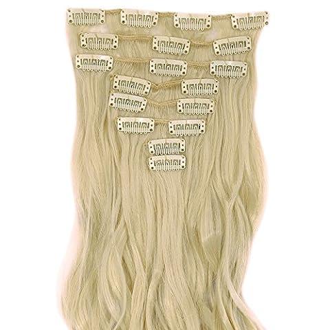S-noilite® 60cm Full Clip tete dans les extensions de cheveux boucles Wavy 8 Pcs 18 clips blond de blanchiment