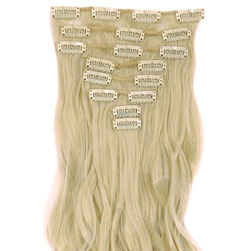 S-noilite® set 8pcs 60cm extension capelli clip nelle estensioni dei capelli della parte dei capelli ondulato o liscio pieno testa vari colori bionda candeggina