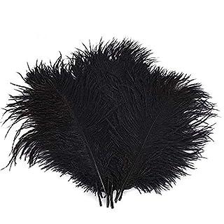 Lot de 10plumes d'autruche Creny de 30 à 35cm pour décoration d'intérieur ou mariage, noir