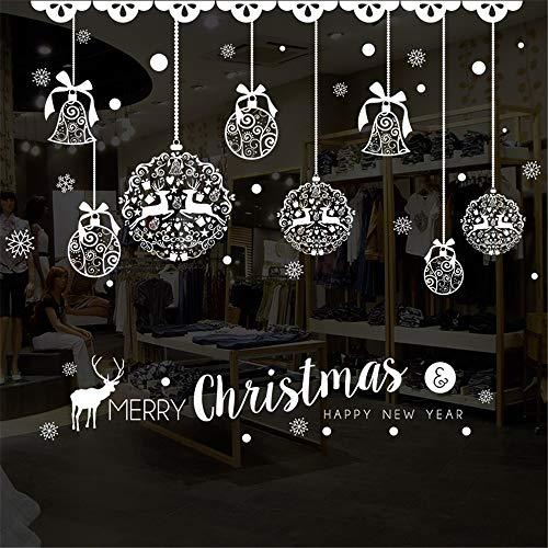 Dfghbn Wasserdicht Weihnachtsdekoration Party Supplies - Urlaub Fenster Aufkleber - White Christmas Bell Flower Balls -