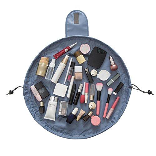 Tefamore Portable Kordelzug Travel Organizer Tasche Make-up Beauty Schmuck Kosmetische Aufbewahrung (Grau)