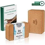 NAJATO Sports Yoga Block Kork 2er Set - Wählbar mit und ohne Yogagurt aus 100% Baumwolle - Umweltfreundlicher Yogaklotz - Mit Übungsanleitungen als Ebook