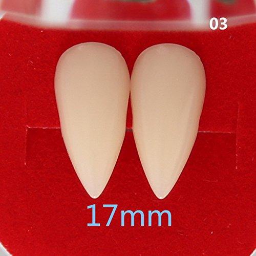 Zorux – Horrific Fun Clown-Kleid Vampirzähne Halloween Party Zahnprops Zombie Teufel Zähne mit Zahngummi 17mm 1 Pair