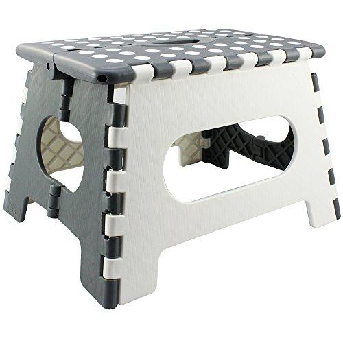 com-four Escabeau pliant avec poignées en caoutchouc, tabouret pliant blanc/gris, 34,5 x 27 x 22 cm (34,5 x 27 x 22 cm blanc/gris - 01 pièces)