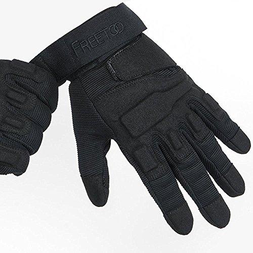 FREETOO Verstärkte Taktische Handschuhe mit PU-Leder + Nylon Design-Ideen für Fahrradfahren, Schießen, Fahren und andere Outdoor-Aktivitäten (Schwarz)
