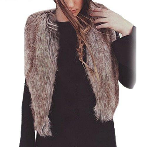 Coversolate Mujeres chaleco sin mangas abrigo chaqueta chaleco de pelo largo chaleco (L, Marrón)