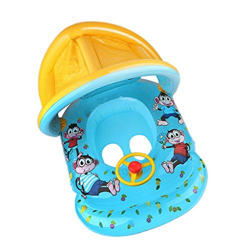 Gazechimp Aufblasbare Baby Schwimmhilfen Strandboot Babysitz mit Sonnendach 2-4 Jahre Kinder Kinderboot für Wasserspaß Spielzeug im Sommer