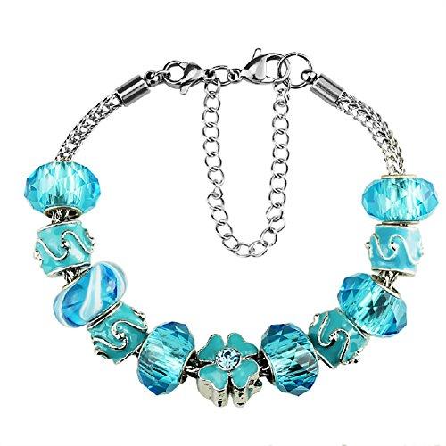Whitebirch - braccialetti con ciondoli, con ciondoli per bracciali pandora per donne e ragazze, gioielli in cristallo, idea regalo per compleanno e placcato argento, colore: blue, cod. 971013