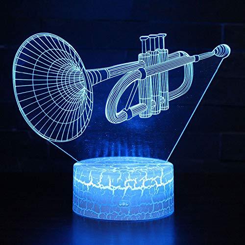 KAIYED Dekorative Tischlampe Musikinstrument Trompete Thema 3D Lampe Led Nachtlicht 7 Farbwechsel Touch Stimmung Lampe