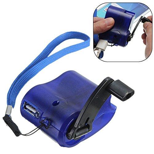 Tragbares Handy-Ladegerät, Handkurbel, Handy, Handy, USB-Ladegerät, selbstbetriebenes USB-Ladegerät für Outdoor, Camping, Wandern, täglich, blau