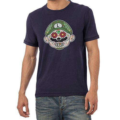 i - Herren T-Shirt, Größe M, navy (Super Mario Maker Luigi Kostüm)