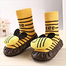 Bebedou yellow bee cartoon socks 3 to 9 months Baby Toddlers Kids Comfy Indoor Slippers Shoes Socks Moccasins NON SKID Indoor Shoes Socks Durable Multifunctional slip baby booties breathable toddler elastic, warm and thick socks with soft leather sole 11 cms